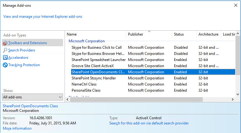 Cannot open Word 2010 document via Word 2016 in SharePoint 2013