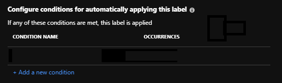AIP Label - Configure conditions for automatically applying this label (empty)