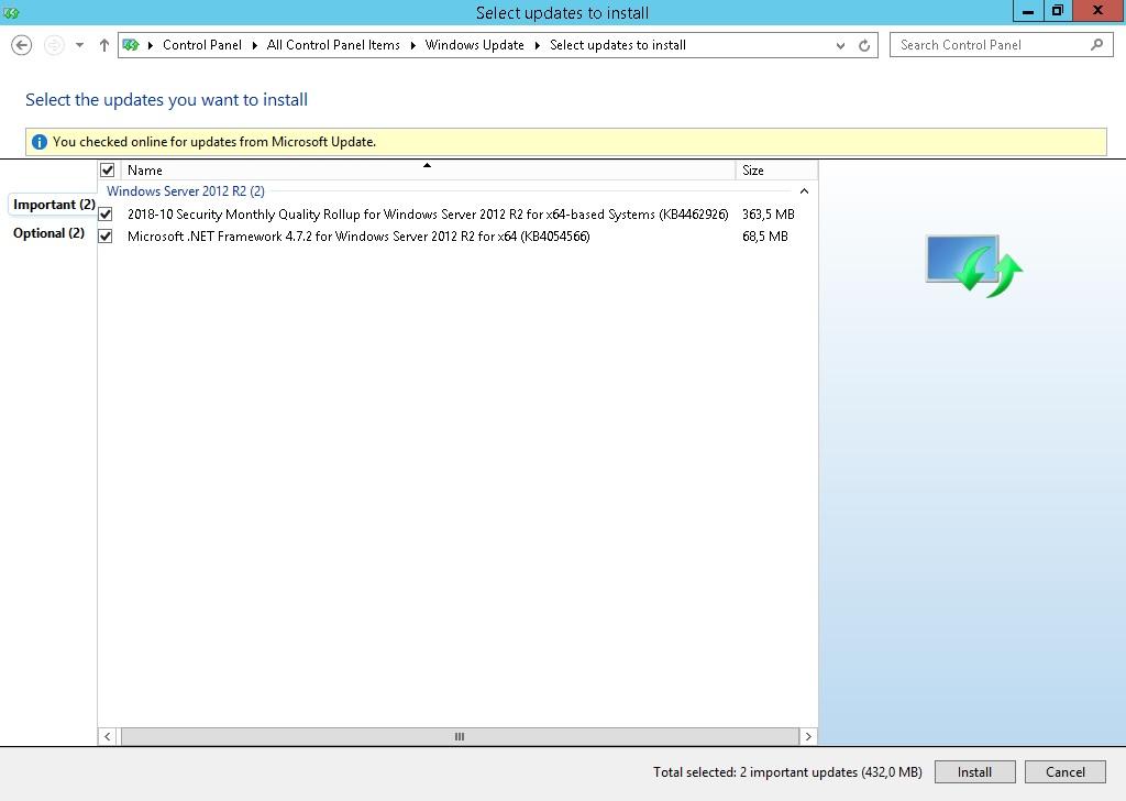Actualizaciones que me ofrece para instalar desde Windows Update, a pesar de que ya están instaladas.