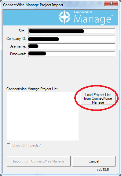ConnectWise Manage Add-in for Microsoft Project