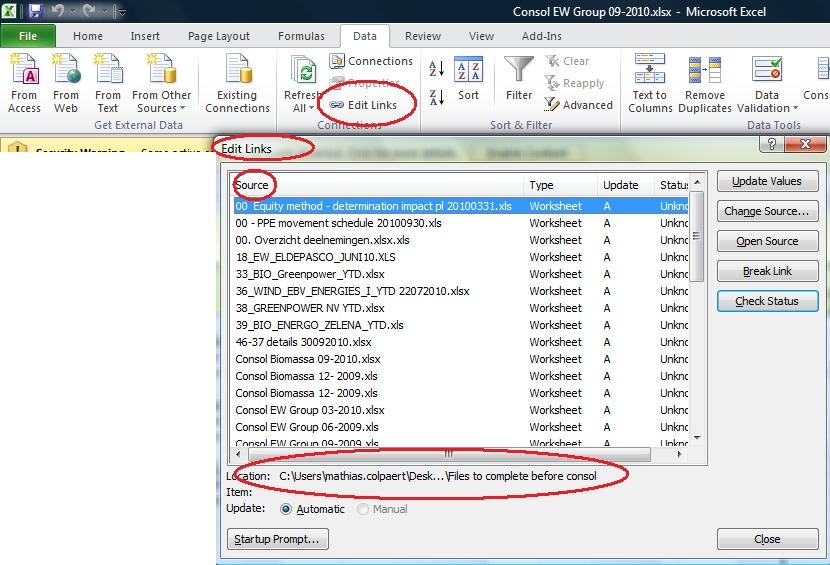 list excel file links in C#