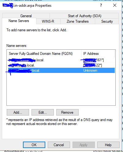 DNS server domain having different name server unknown status on ip