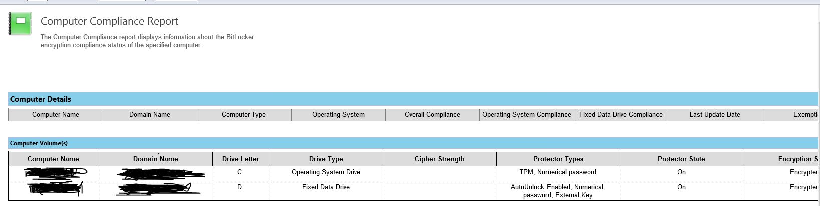 MBAM SCCM integrated Compliance reports show nothing