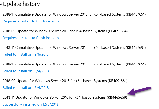 Can not update Windows server 2016 (KB4091664) and (KB4467691)