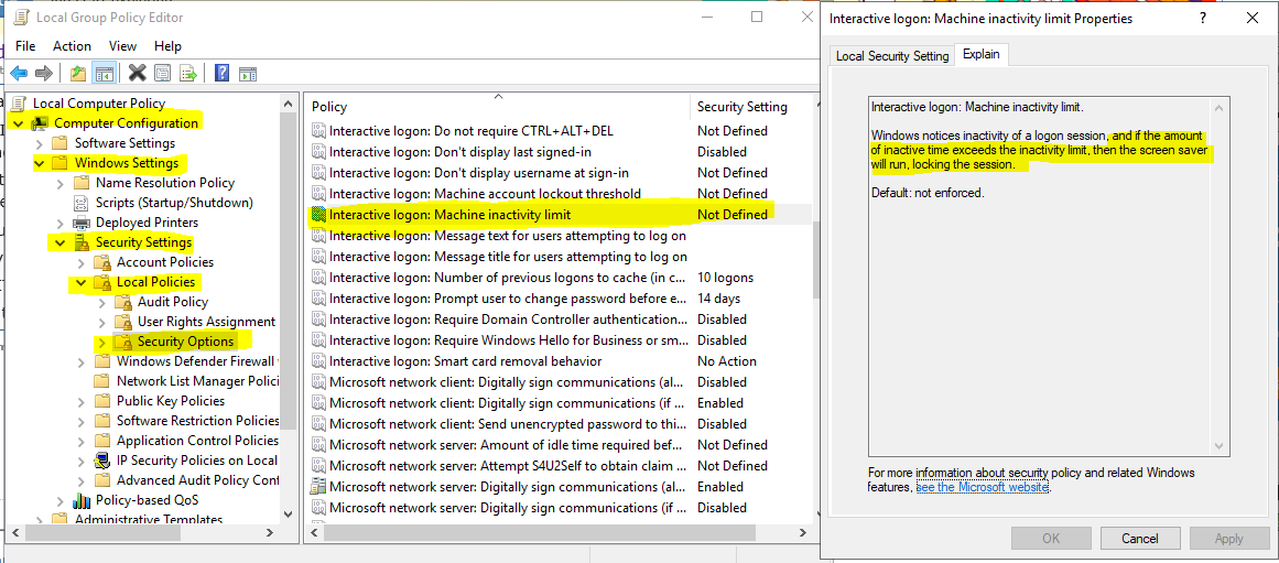 How to disable screensaver in Windows 10 v1803 Ent via