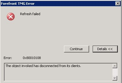The Object Invoked has Disconnected from its clients