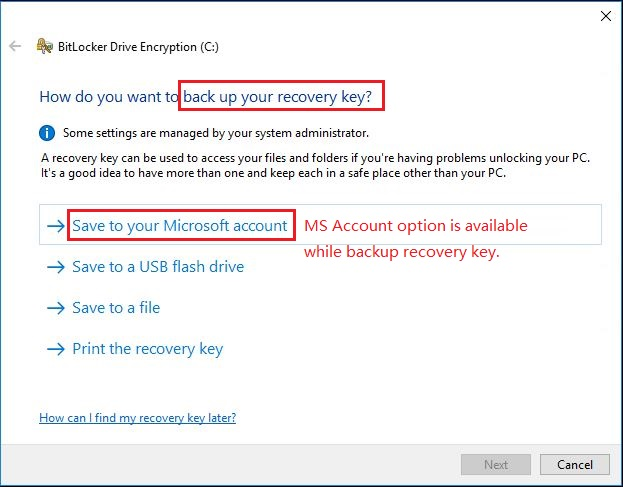 bitlocker recovery key not in microsoft account