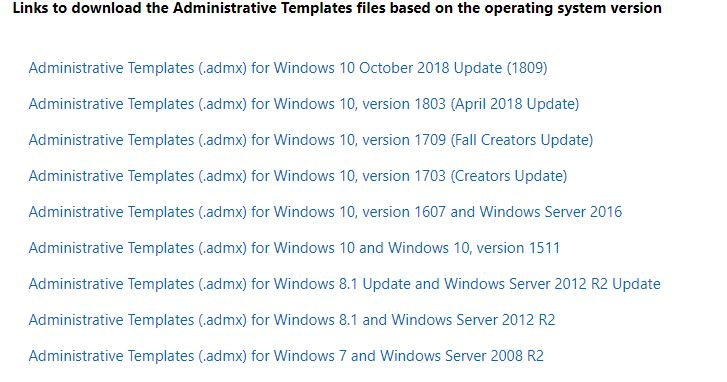 Missing Windows 10 admx templates