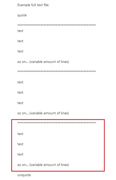 Extract block text from large file text