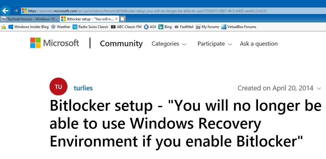 Windows 10 Bitlocker Error