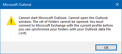 Can't start Outlook 2019