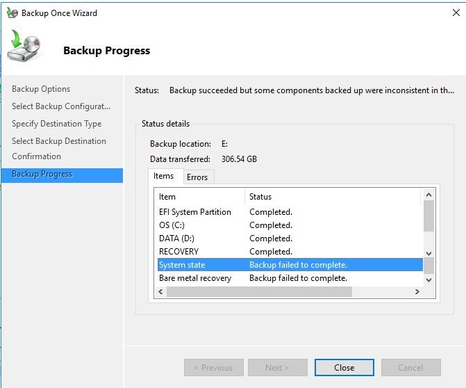 Windows Server 2016 Essentials Backup Fails (Windows Server