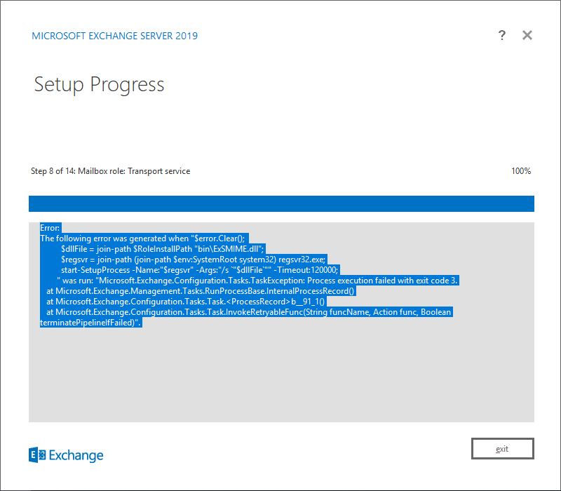 Getting Error message while Installing Exchange server 2019