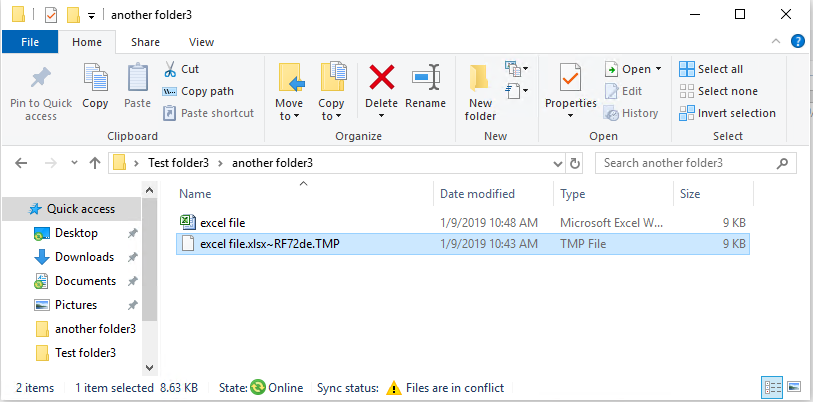 Windows 10 Sync Center - Conflict files creates a [filename]~xxxxxxx tmp