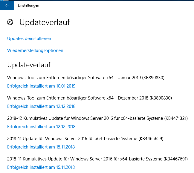 January Updates for Windows Server 2016 (1607): No updates