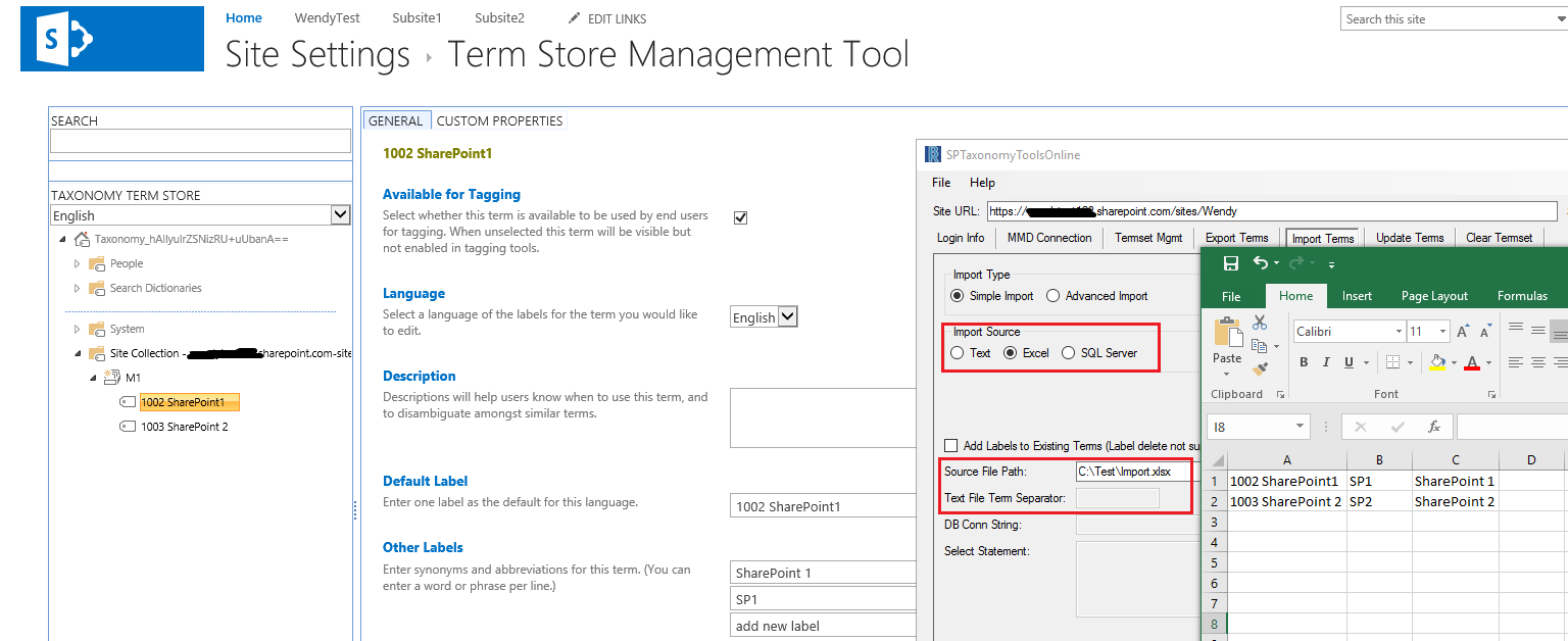 Import Term Set with synonyms in SharePoint Online