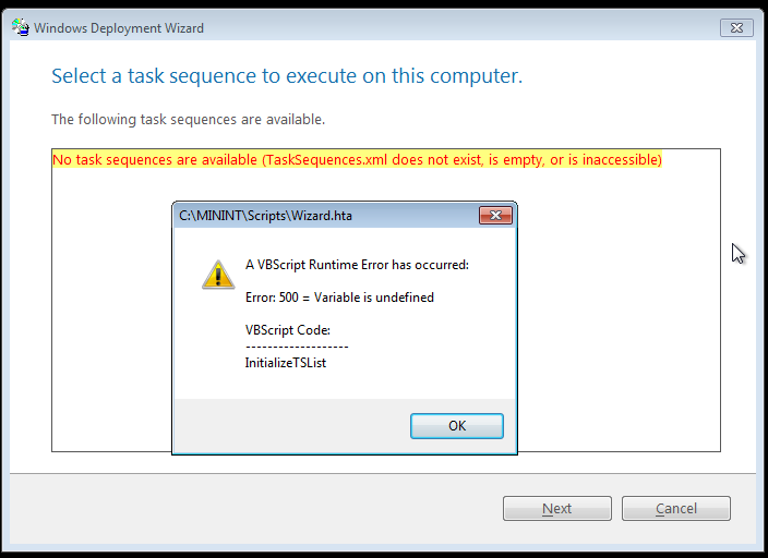 task sequence error