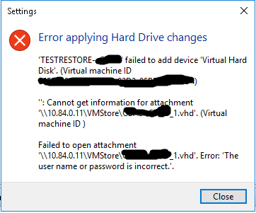 Hyper-V can't attach NAS-hosted VHD file: