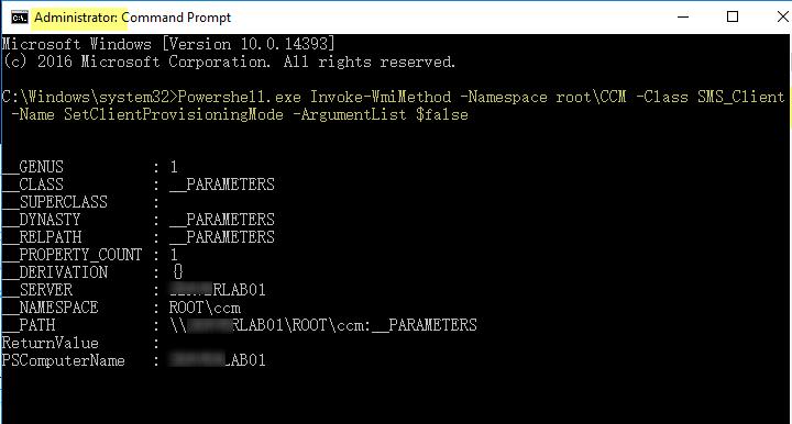 SCCM client showing a error message when starting