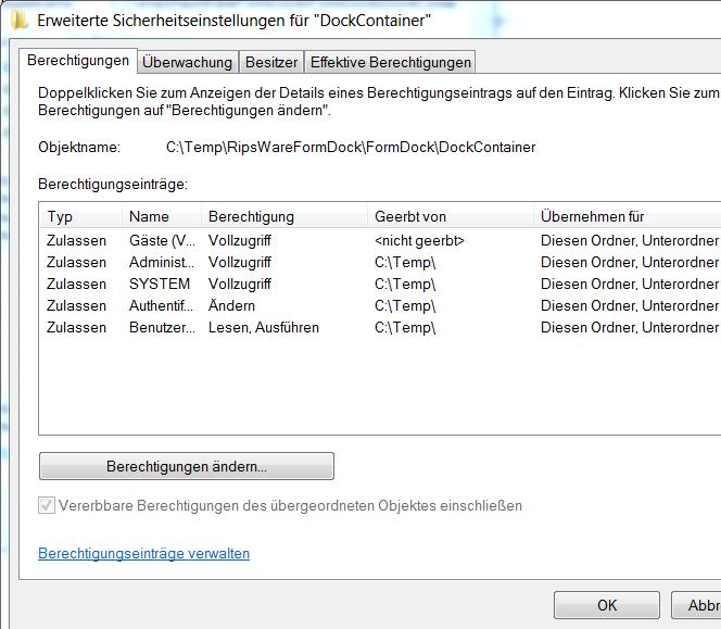 NTFS vererbung Spezielle Berechtigung: Gäste nicht geerbt!