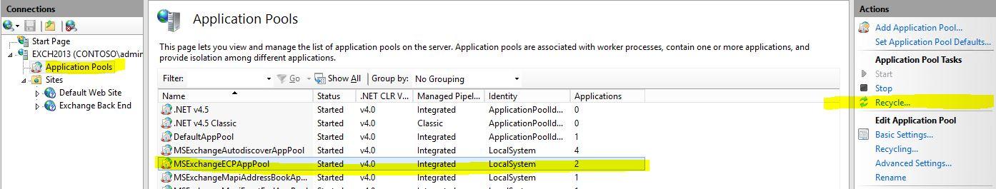 Exchange Server 2016 ERROR 500