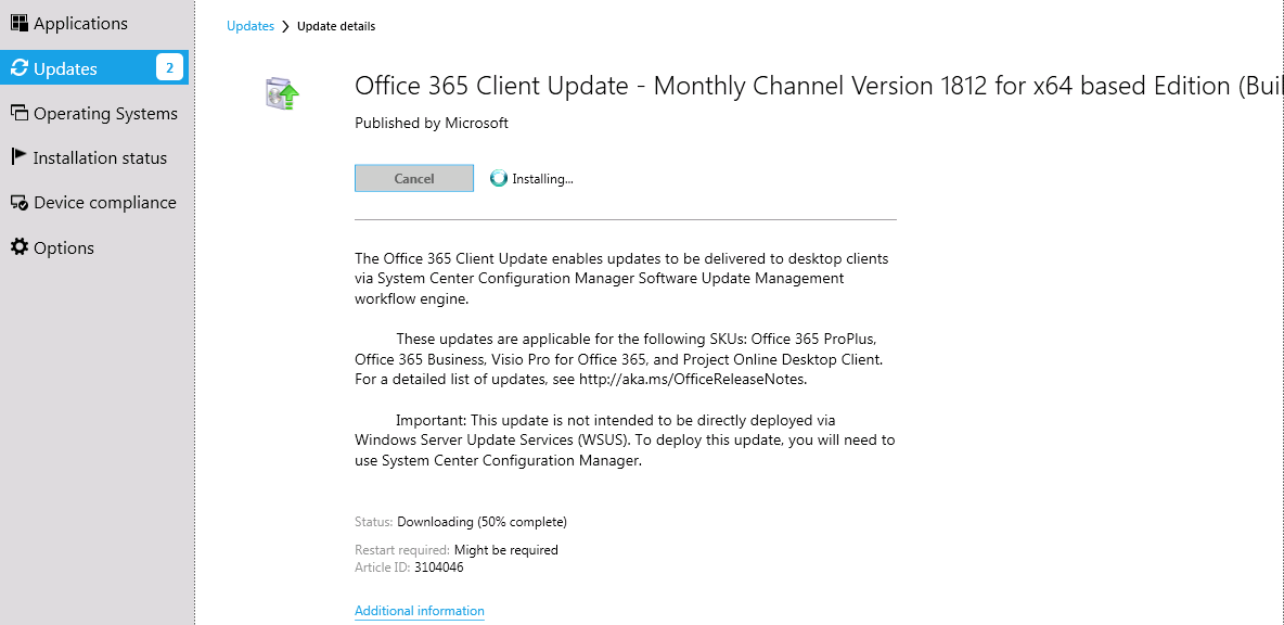 Office 365 client updates getting stuck at 50% downloading