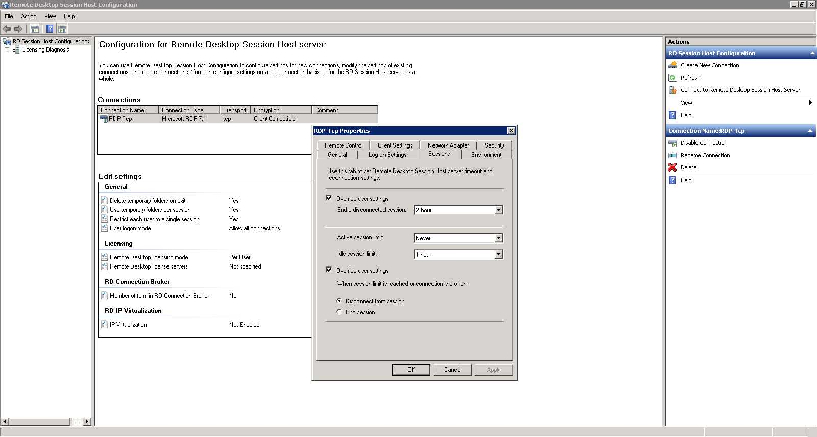 Using Remote Desktop Session Host Configuration in Windows