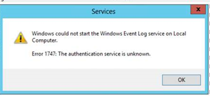 Windows Event Log: Error 1747: The authentication service is unknown