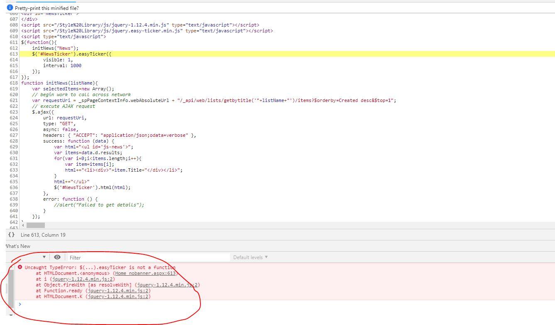 Uncaught TypeError: $(   ) easyticker is not a function