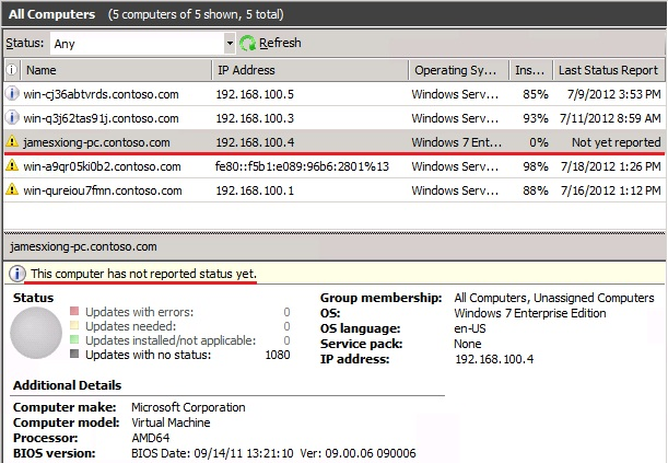 WSUS Client failed to report back to the WSUS server