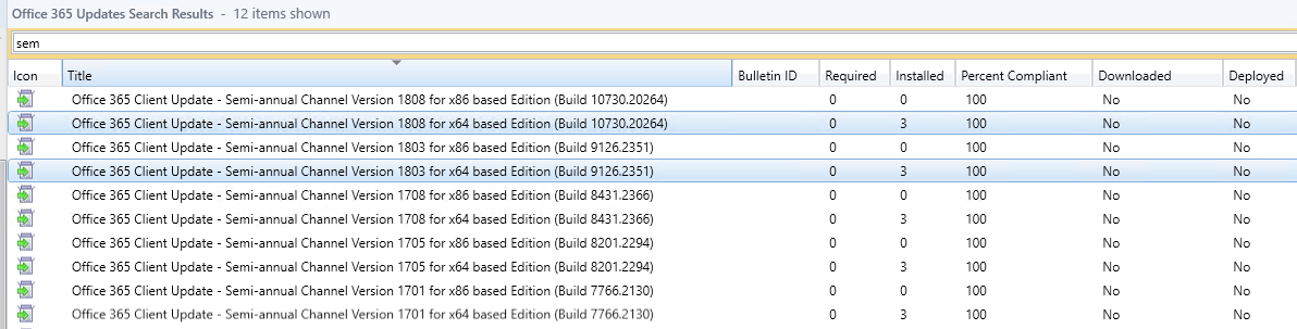 Not able to view office 365 updates for 1803