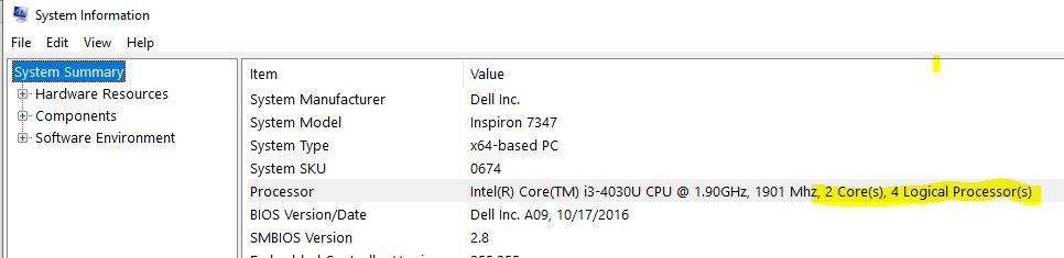 Windows 10 (PRO) use of CPU kernals