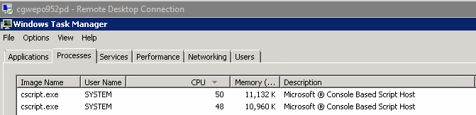 cscript exe is using all the CPU performance in Windows