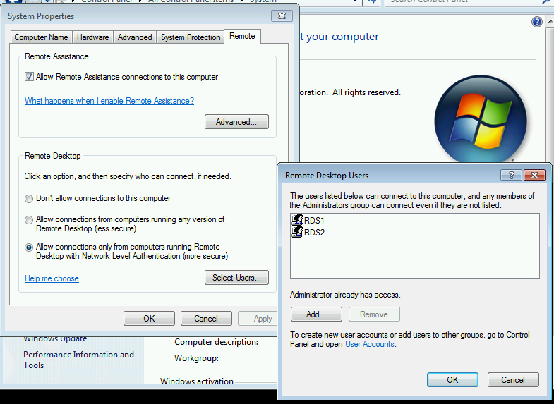 Remote Desktop fails to connect on Windows 7 for users who have been