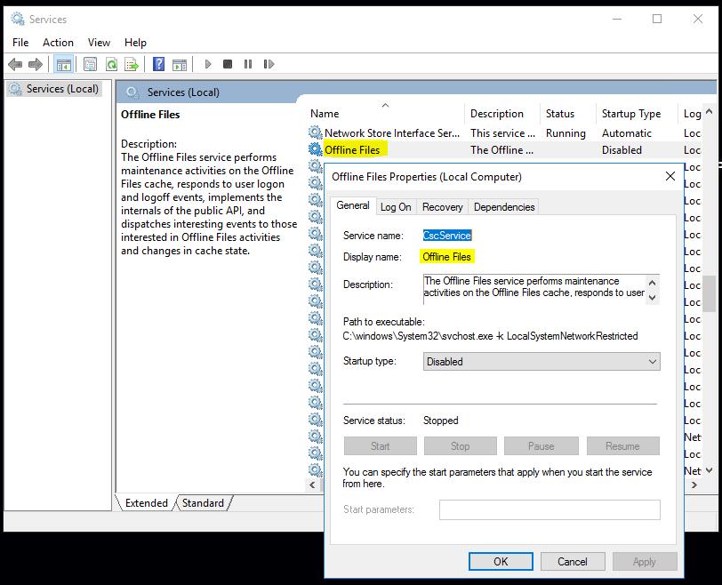 disable offline files windows 10 registry