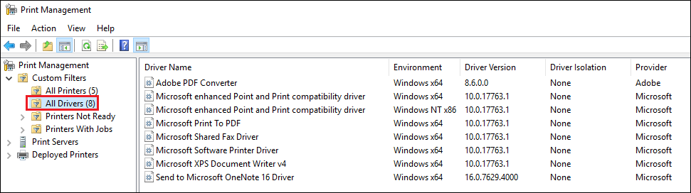 how remove printer drivers windows 10