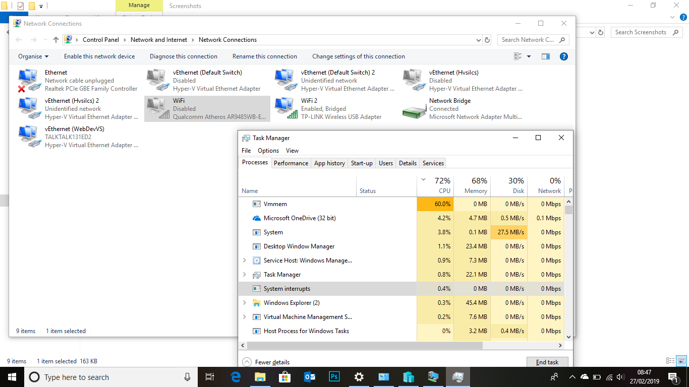 Hyper-V Virtual Switch Causing 20% Usage Of CPU For System Interrupts