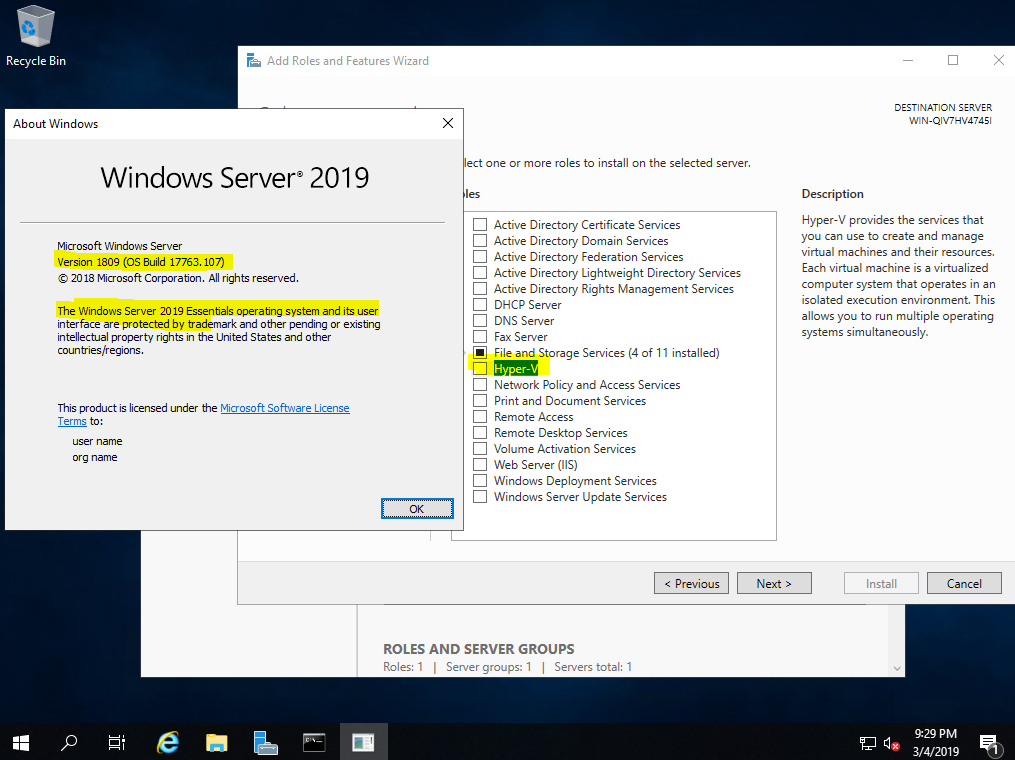 Hyper-V support and licencing in Windows Server Essentials 2019