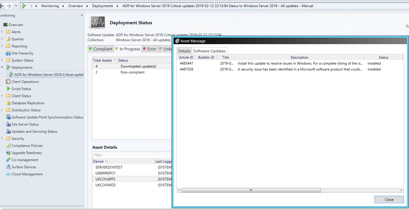 SCCM 8692 security patching, patches installed, but client