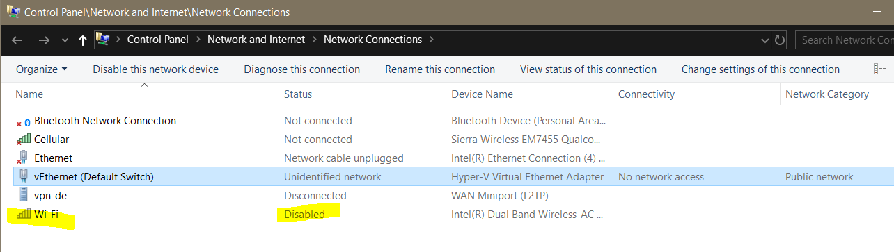 Hyper-V unusuable on win10 1809 - default switch disables