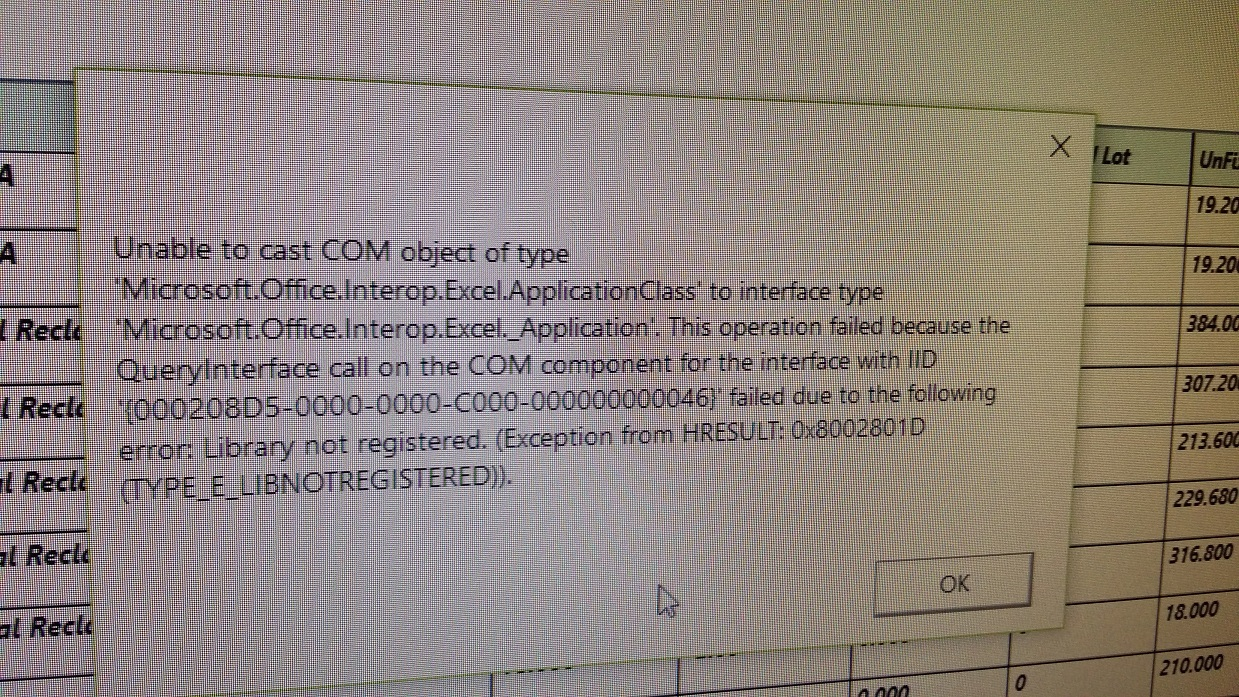 Unable to cast COM object of type