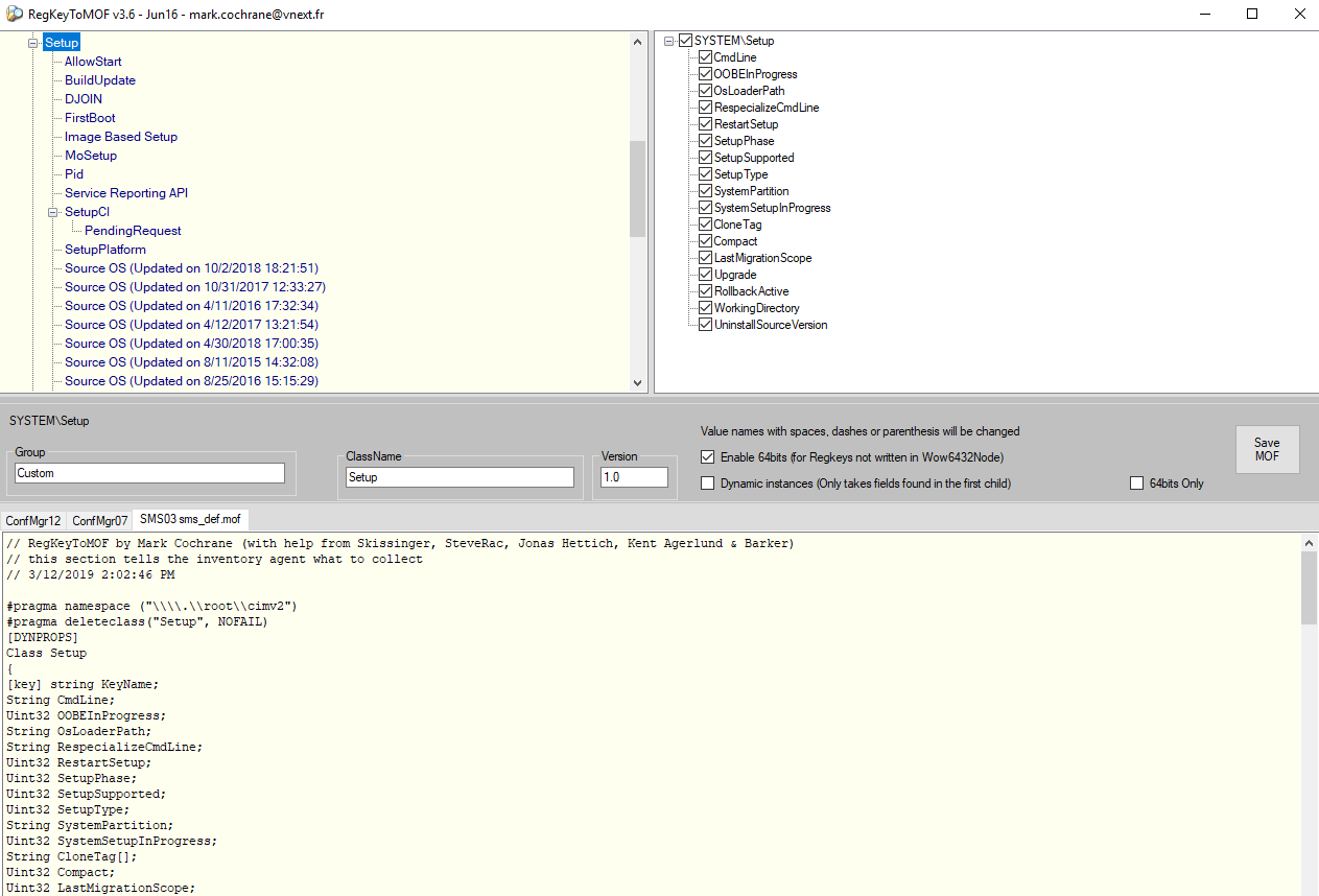 Create report/collection based on registry key