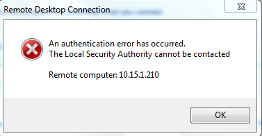Remote Desktop Authentication Error Has Occurred  The