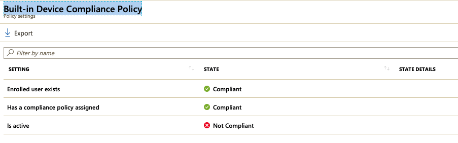 intune built in device compliance policy
