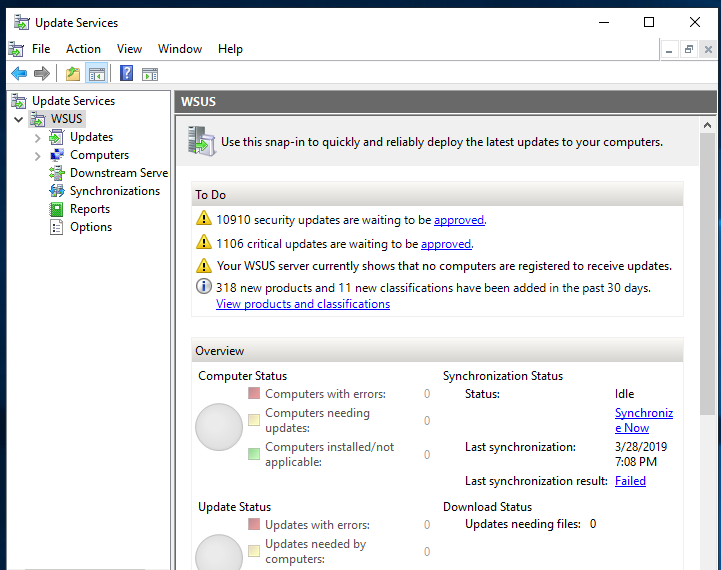 Server 2019, WSUS MMC Snap-in: Increase timeout?