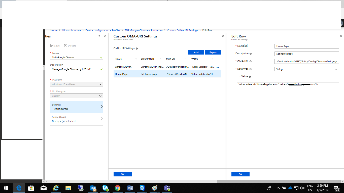 INTUNE Policy for Google Chrome