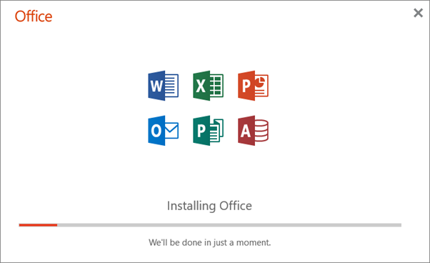 Installing Office - We'll be done in just a moment