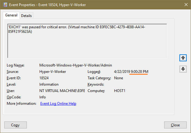 Hyper-V VM crashing with Kernel-Power Critical logs in Event