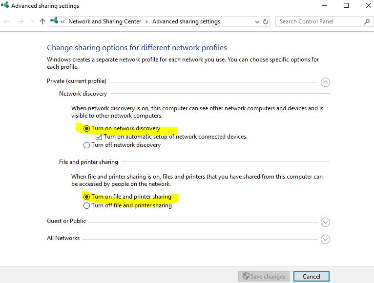 network discovery turned off server 2008