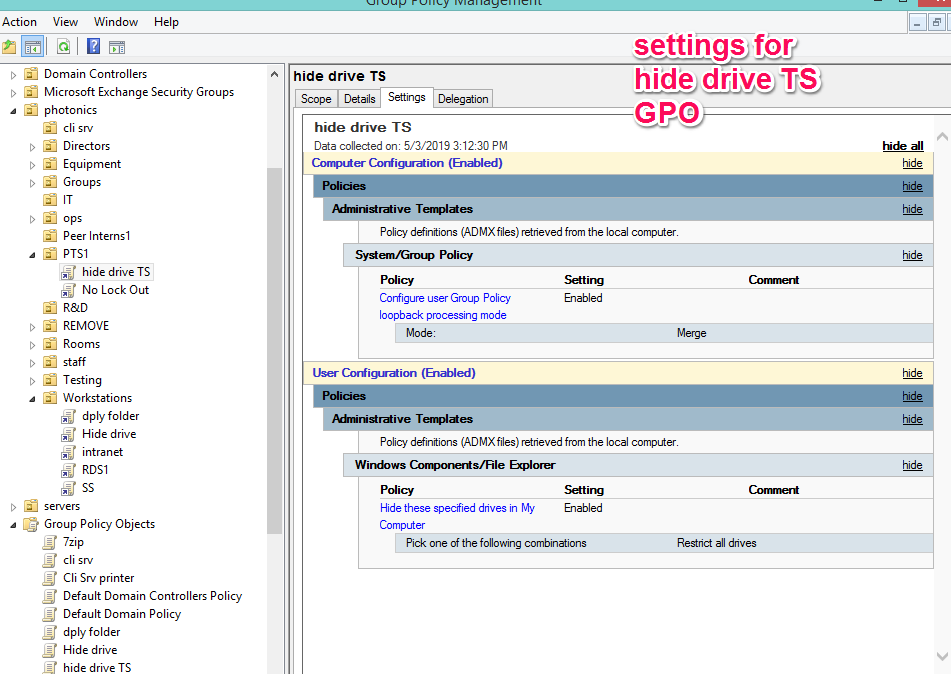 GPO's not applying on terminal server